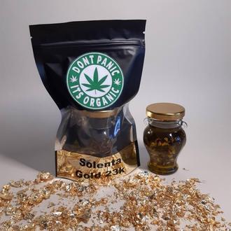 Сухое масло из семян конопли с золотом для массажа 100 мл.