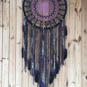 Черный фиолетовый ловец снов, черный ловец снов бохо, ловец снов, декор