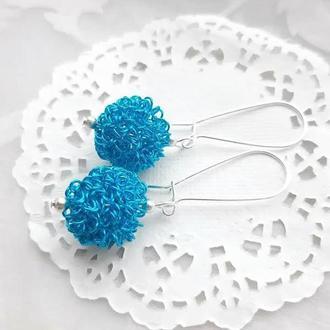 Серебряные серьги с Голубыми шариками из проволоки