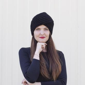 Обалденная шапка-чалма вязаный тюрбан чёрного цвета