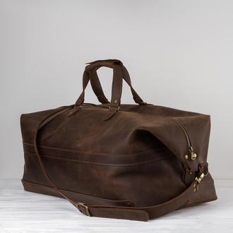 Кожаная дорожная спортивная сумка - 2 вида кожи, 15 оттенков