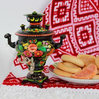 Самовар сувенир в стиле Петриковская роспись