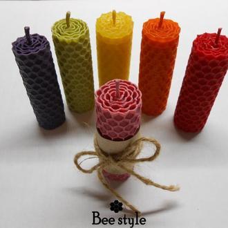 Кольорові свічечки з ❣100% натуральної бджолиної вощини🐝