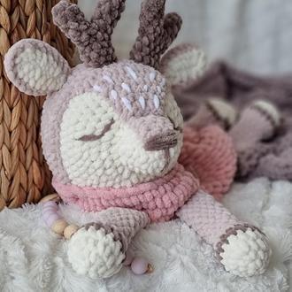 Піжамниця оленятко, плюшеве оленятко, дитяча іграшка, іграшка для сну, плюшевв іграшка