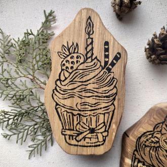 Штамп пирожное для декора, набойка на ткани, принт своими руками, штамп для творчества, штамповка