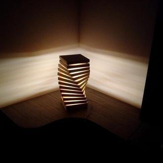 светильник ночник led  деревянный
