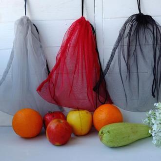 Эко мешочки-сетки 3 шт, эко торбочка, эко пакет для продуктов, хранения