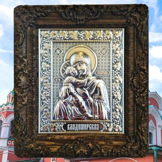 Серебряная Владимирская Икона Божьей Матери, высшая проба 960, 12гр
