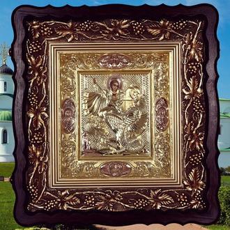 Серебряная позолоченная икона Георгия Победоносца, 960 проба, 100 гр
