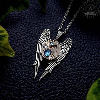 Крылья - кулон с настоящим часовым механизмом в стиле стимпанк