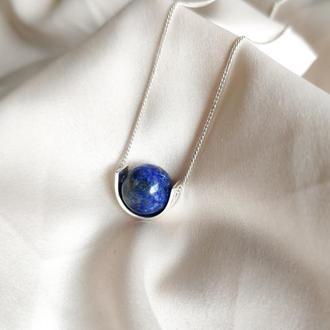 Серебряное колье с лазуритом, Минималистичная подвеска с натуральным синим камнем
