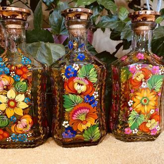 Комплект пляшок для алкоголя Петриківський розпис