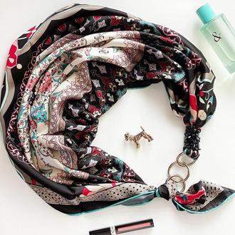"""Шелковый платок """"Блек баккара"""" от бренда my scarf, подарок женщине. Премиум коллекция!"""