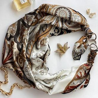 """Шелковый платок """"Жемчужный песок"""" от бренда my scarf, подарок женщине. Премиум коллекция!"""