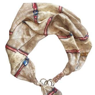 """Шелковый платок """"Нежная жемчужина"""" от бренда my scarf, подарок женщине."""