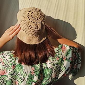 Вязаная Летняя Шляпа-Панама Из Полухлопка