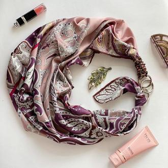 """Шелковый платок """"Розовый десерт"""" от бренда my scarf, подарок женщине. Премиум коллекция!"""