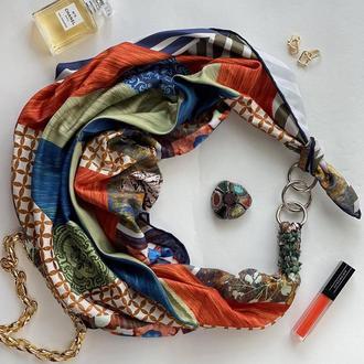 """Шелковый платок """"Яркие сны"""" от бренда my scarf, подарок женщине. Премиум коллекция!"""