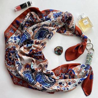 """Большой шелковый платок """"Бирюзовые грезы"""" от бренда my scarf, подарок женщине. Премиум коллекция!"""