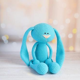Зайчик длинноухий. Первая игрушка малыша. Подарок новорождённому. Эко-игрушка.