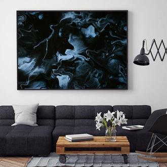 """Интерьерная картина жидким акрилом """"Черно-белая абстракция"""""""