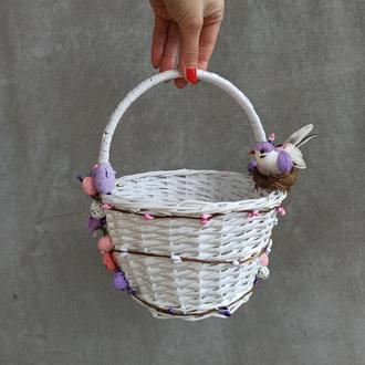 Белый детский пасхальный корзина для девочек