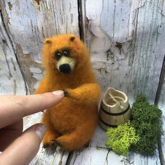 Мишка Сладкоежка ,  Интерьерная Игрушка из шерсти , Подарок , декор , сувенир