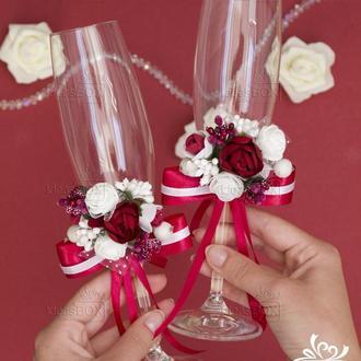 Весільні декоровані бокали 2 шт