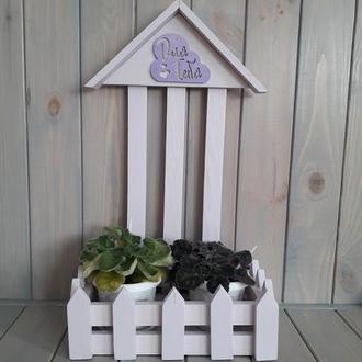 Деревянный декоративный интерьерный ящик для подарка для цветов для хранения