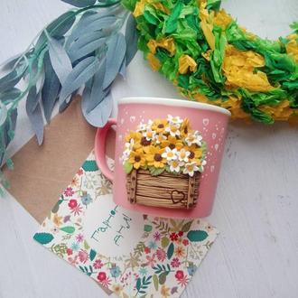 Чашка с декором букет цветов