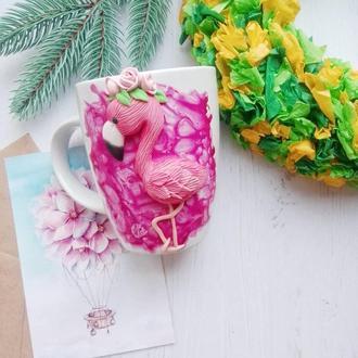 Чашка с декором Фламинго