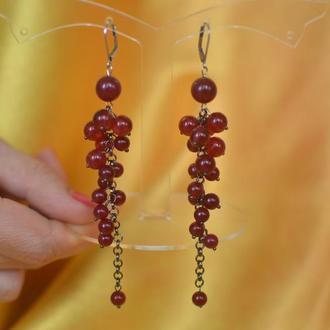 Длинные серьги-грозди с кварцем ′Зимняя вишня′