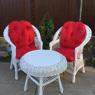 """2 кресла """"Обычные"""" с мякушками №11 и круглый столик """"Гриб с плитой""""- Белые"""