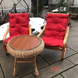 """2 кресла """"Амортизатор"""" №2 с красными подушками + стол круглый """"Гриб с плитой"""""""
