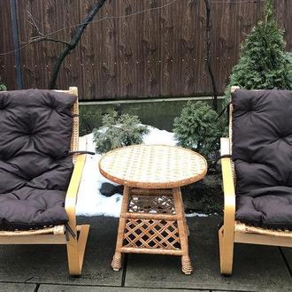 """2 кресла """"Амортизатор"""" №2 с коричневыми подушками + столик """"Круглый-Сетка"""""""