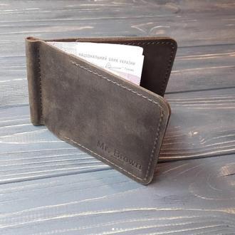 Кожаный зажим для денег Mr.Brown с 2-мя карманами для карт