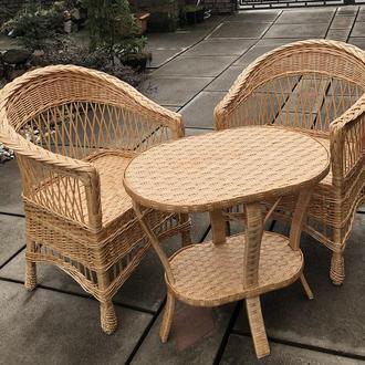 """2 кресла """"Обычных"""" с низкой спинкой №3 + овальный столик """"Краб"""""""