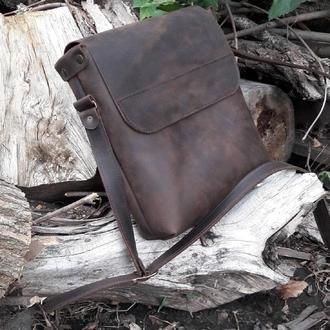Кожаная мужская сумка на плечо - 2 вида кожи, 15 оттенков