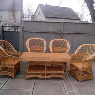 """4 кресла """"Изысканные"""" + стол """"Иза"""" 1,5х0,7 м."""