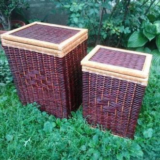 Ящики для белья темные квадратные