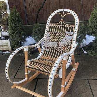 """Кресло-качалка """"Ротанг"""", белая с черными вставками"""