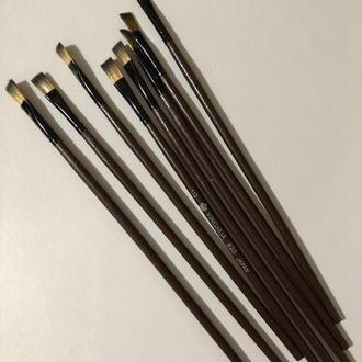 Кисть для рисования №1/2 плоская коричневая синтетика 7 мм, 20 см. Пензлик для малювання плоский синтетичний