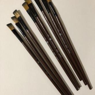 Кисть для рисования №1/6 плоская коричневая синтетика 11 мм, 21 см Пензлик для малювання плоский синтетичний