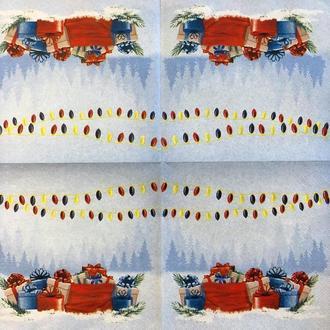 """Салфетка декупажная 33x33 см 28.2 """"Подарки Лампочки Снег"""" Серветка для декупажу Новорічна"""