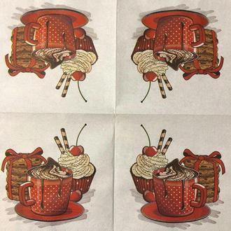"""Салфетка декупажная 33x33 см 13 """"Сладости капучино кофе печенье"""" Серветка для декупажу"""