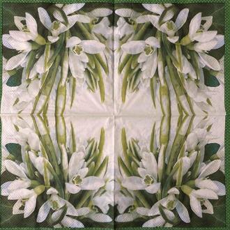 """Салфетка декупажная 33x33 см 1 """"Цветы цветочки ландыш подснежник белый"""" Серветка для декупажу"""