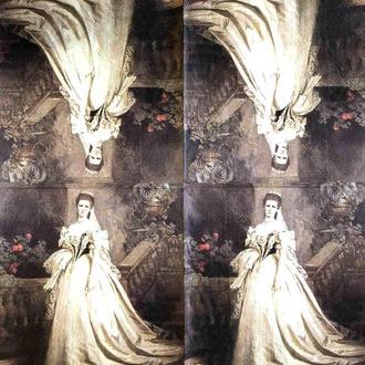 "Салфетка декупажная 33x33 см 15 ""Королева Царица Леди Платье Ретро Винтаж Цветы Замок"" Серветка для декупажу"