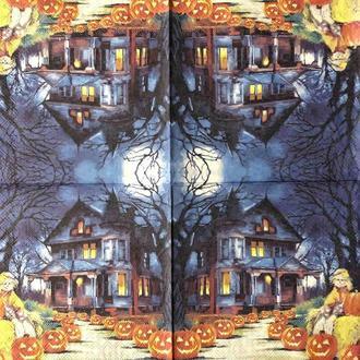 """Салфетка декупажная 33x33 см 16 """"Ужасы Старый дом Тыква Хелоуин Ночь"""" Серветка для декупажу"""