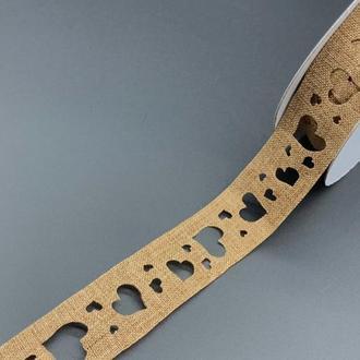 Лента с узором декоративная для рукоделия Коричневая мешковина сердце (25 мм) - 1 метр. Стрічка декоративна