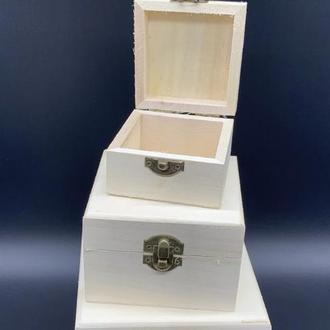Шкатулка квадратная заготовка из дерева для декупажа и творчества 110х110х70 мм не полностью шлифованная